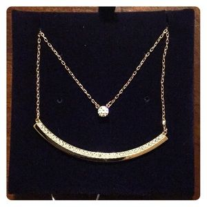 "NWT Swarovski Rose Gold 15"" Double Chain Necklace"